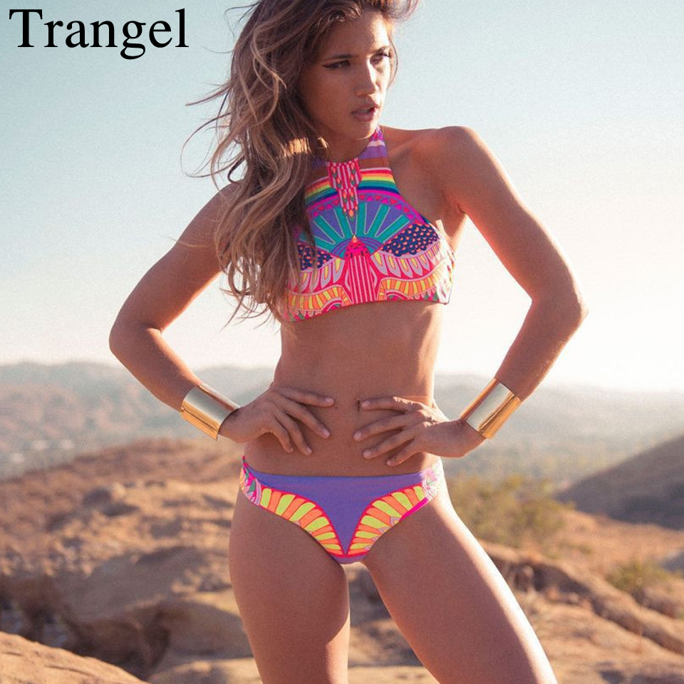 Trangel Aztec High Neck Cropped Top Bikini Set Biquini Bodycon Junior Brazilian Bikini Retro Print Swimsuit Wommen Swimwear
