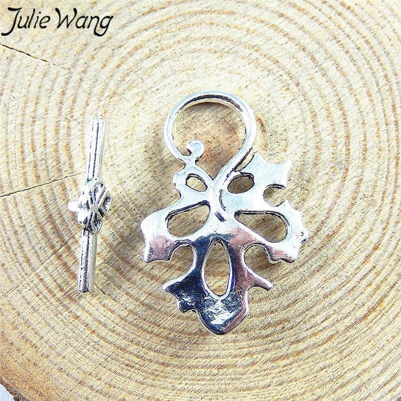 Julie Wang 15 ชิ้น/แพ็คโบราณ Silver Alloy เรียบง่ายสไตล์ Plant Leaf รูปร่างเครื่องประดับจี้ DIY สำหรับงานแต่งงาน