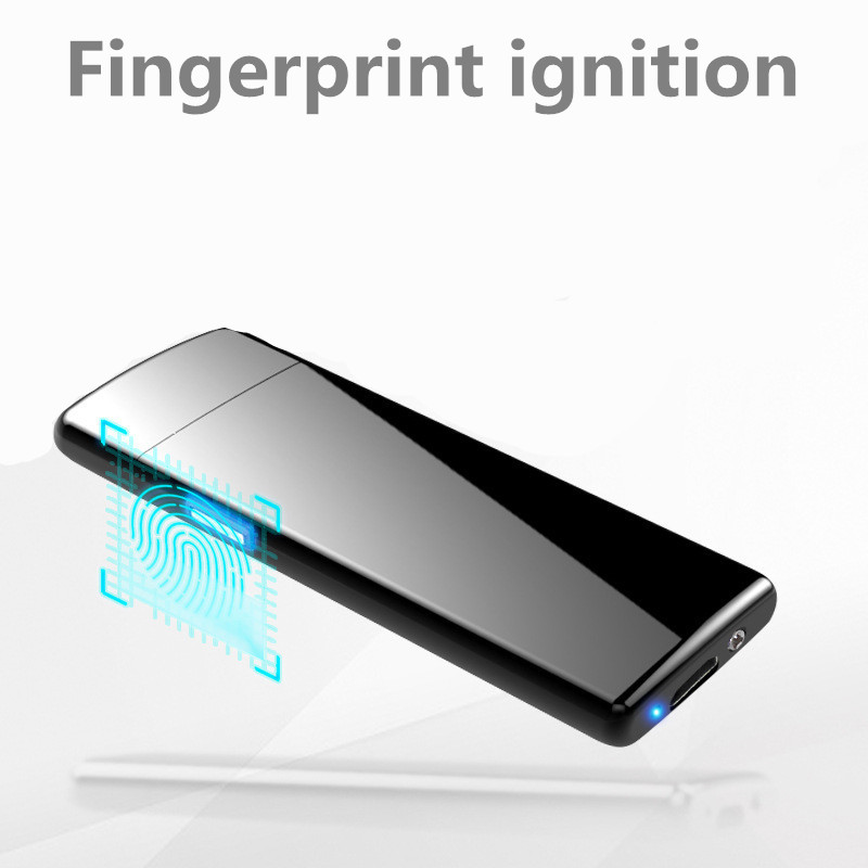 Mini Thin Lighter 7.5mm Double Sided Fingerprint ignition Cigarette Lighter USB Windproof Electronic Touch Tobacco Lighter - DAE