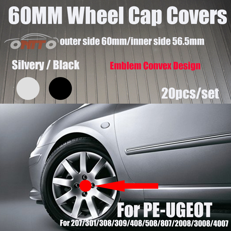 Car Logo Wheel Rim Coves Emblem 60MM 2.36INCH Black/Silvery Wheel Center Cap Covers Hub Cap <font><b>20PCS</b></font> For 207/301/308/309/408/508 image