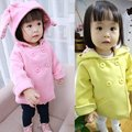 Тепло! 2016 новый springautumn пальто девушка хлопка детская одежда утолщенной уши кролика с капюшоном пальто для детей 1-3 лет бесплатно доставка