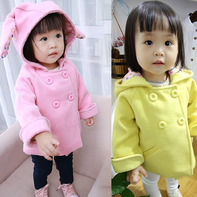 Calor! 2016 new springautumn menina casaco crianças roupas de algodão engrossado orelhas de coelho casaco com capuz para crianças 1-3 anos grátis grátis