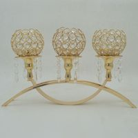 Gold Crystal Candelabra Centerpieces For Wedding Decoration Christmas Candlestick Tealight Holder