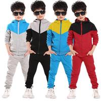 2016 Retail Children Shampooers Jogging Tracksuit Sport Set Hooded Coat Pants Kids Boys Baby Spring Autumn
