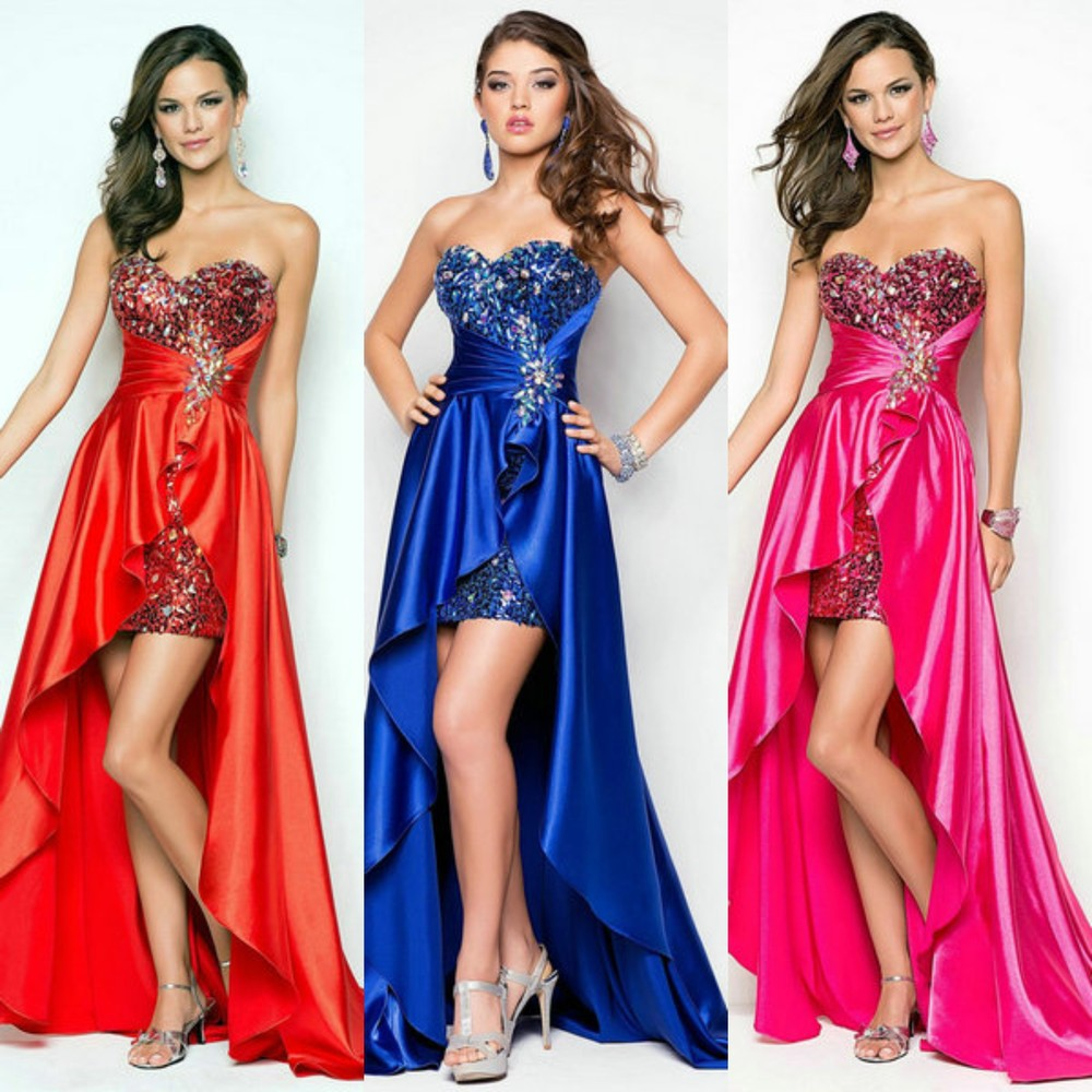 Free shippingFuchsia Red Royal Blue Satin Sparking Beading ...Red High Low Prom Dresses 2013
