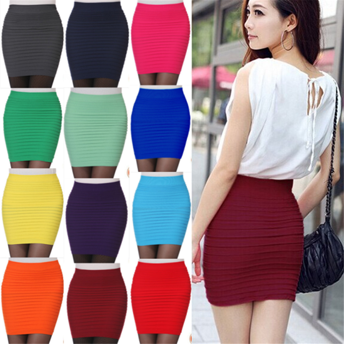 Pleated-Skirt Elastic Business Office Bodycon Pink Blue High-Waist Short Black Solid-Color