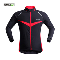 WOSAWE Cycling Jacket Long Sleeve,Windproof Cycling Pocket,Zipper Bike Clothing Cycling Jersey Red/Green Top Clothes Coat 50