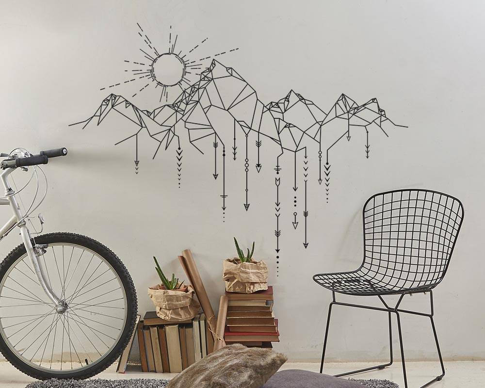 Creative stickers mountains geometric wall stickers home - Removable wall stickers living room ...