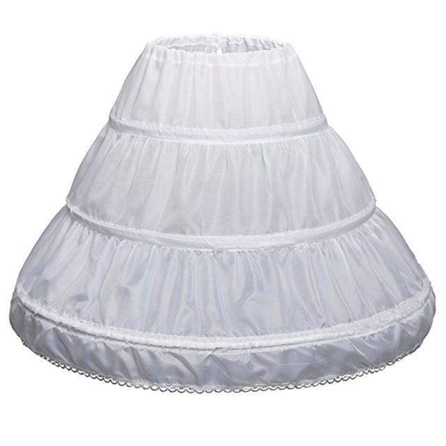 Crianças Anágua branca A Linha 3 Aros Uma Camada Crianças Underskirt Crinolina Guarnição Do Laço Do Vestido Da Menina de Flor Elástico Na Cintura Com Cordão