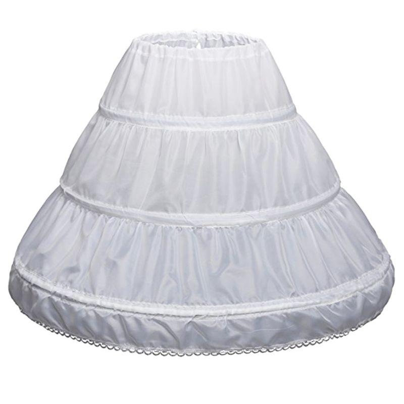 Weiß Kinder Petticoat A-linie 3 Hoops Eine Schicht Kinder Krinoline Spitze Trim Blume Mädchen Kleid Unterrock Elastische Taille Kordelzug