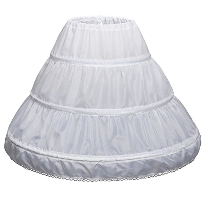 White Children Petticoat A-Line 3 Hoops One Layer Kids Crinoline Lace Trim Flower Girl Dress Underskirt Elastic Waist Drawstring