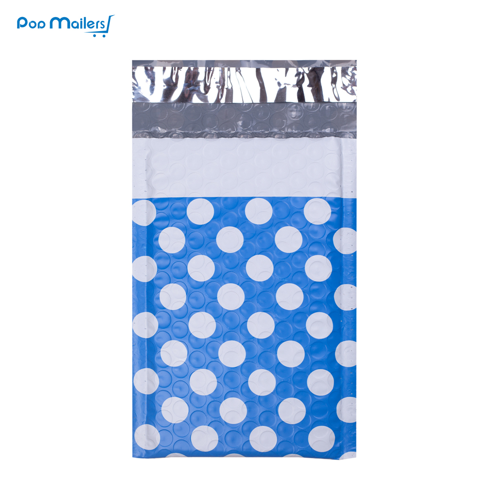 10pcs 4x7inch/120*180mm Blue And White Dot Pattern Creative Shockproof Moisture Proof Plastic Bubble Bag