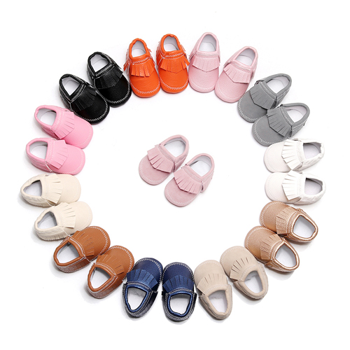 0-18M Newborn Baby Tassel Anti-slip PU Shoes Baby Soft Fringe Sneakers Moccasins Baby First Walkers Shoes