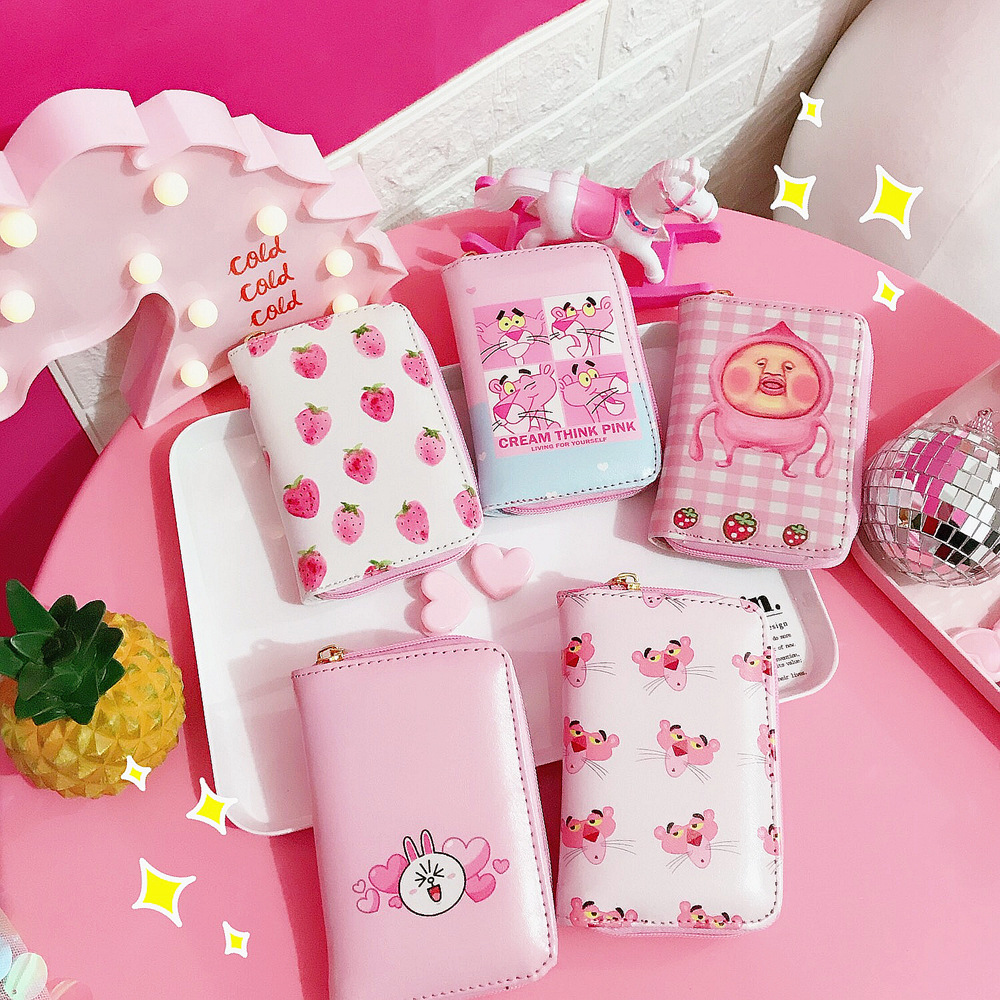 Korean ulzzang cartoon animal cute pink purse girls Japanese pu leather wallet purses high quality L6008450 pacgoth japanese and korean style pu leather coin purse casual animal prints cute cats hot lip pattern zipper cash pouch 1 piece
