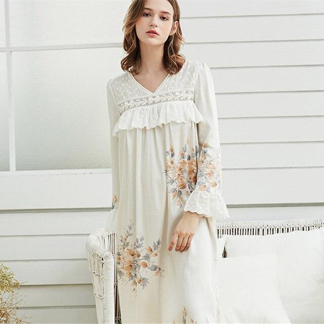 1ee884bd9a Nightown Woman Nightdress Ladies Elegant Sleepwear Spring White Floral  Sleepwear Dress Pregnant Woman Nightgown