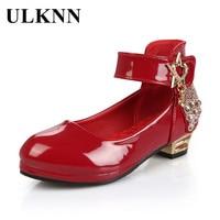 ULKNN Spring Autumn Kids Dress Shoes Low Heel Shoes For Girls Princess Leather Shoes Dance Wedding