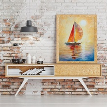 Laeacco Abstract Cartoon Sailboat Posters and Prints Modern Canvas Painting Wall Artwork Picture Living Room Home Decor