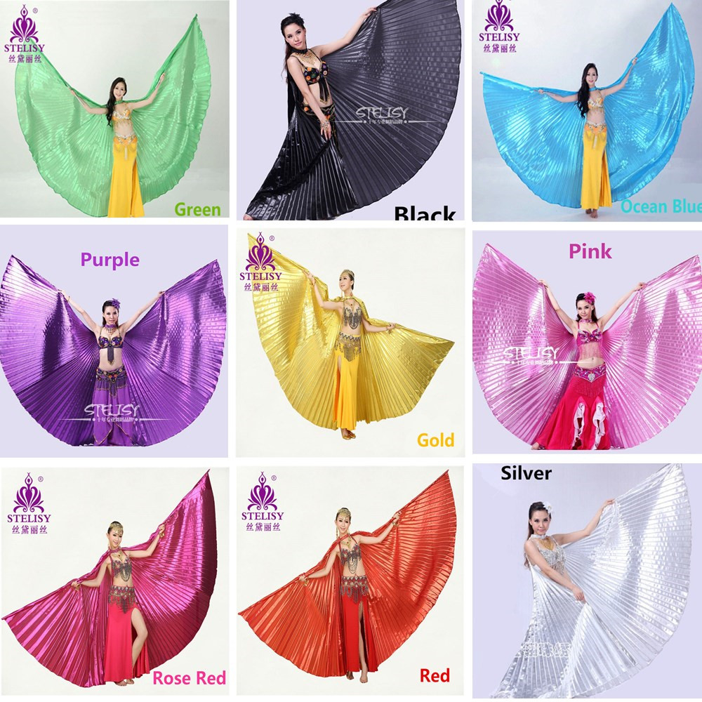 2016 Hot Belly Dance Isis Wings Oriental Design New Wings 11 Colors without Sticks