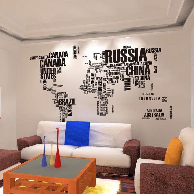 affiche lettre carte du monde citation amovible vinyle art stickers mural salon bureau. Black Bedroom Furniture Sets. Home Design Ideas