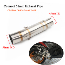 CBR300 CB300F Motorcycle Stainless Steel Middle Link Pipe 51mm Silencer System Silp on for Honda