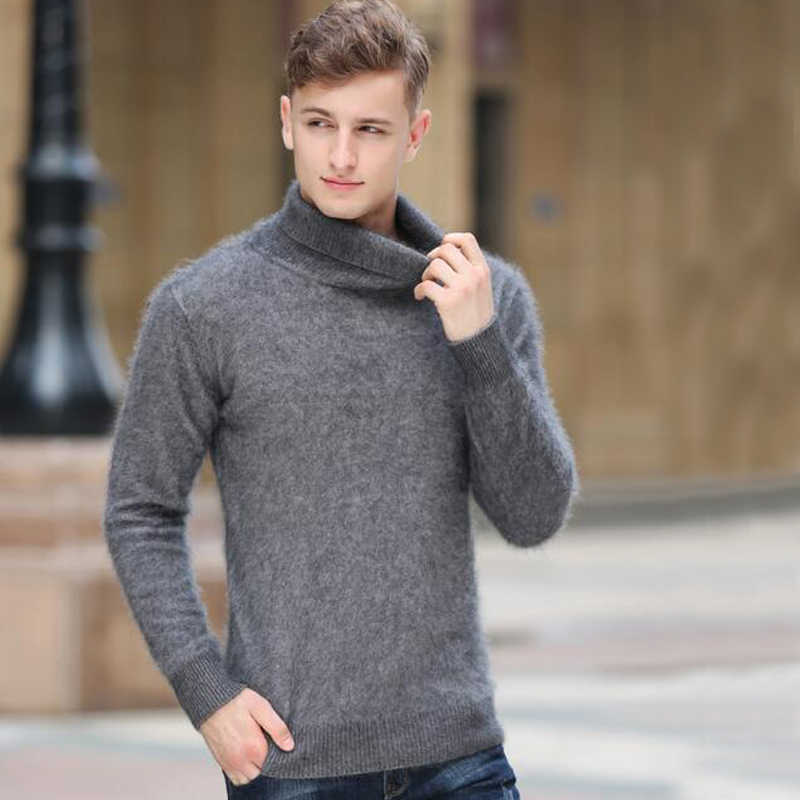 Sweater Men turtleneck Mink Cashmere Pullover Mens jumper Natural Cashmere Factory Low Discount korean style tsr592