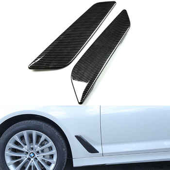 Car Styling Side Wing Air Flow Intake Cover Trim Chrome Carbon Fiber Style Decor Hood Badge For BMW 5 Series G30 G31 2017 2018 - DISCOUNT ITEM  25% OFF Automobiles & Motorcycles