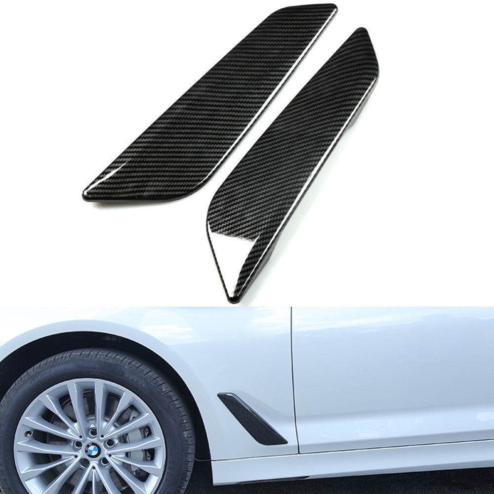 Car Styling Side Wing Air Flow Intake Cover Trim Chrome Carbon Fiber Style Decor Hood Badge For BMW 5 Series G30 G31 2017 2018