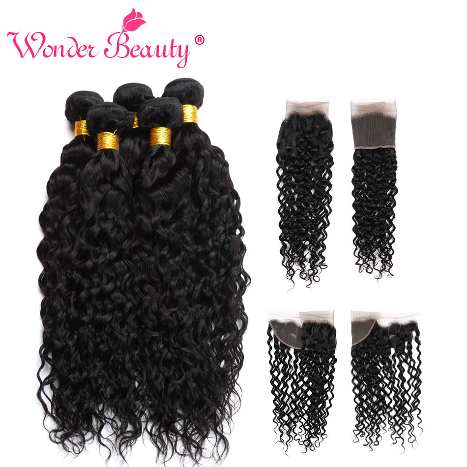 Wonder Beauty Malaysia Water Wave Hair Weaves Frontal Nonremy Human Hair Extensions 3 Bundles With Lace Frontal Deal Hair Pieces
