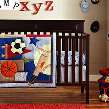 Promotion! 6PCS Baby Crib Bedding set for boys cot set bed kit Applique Embroidery kit de berço  (4bumper+duvet+bed cover)