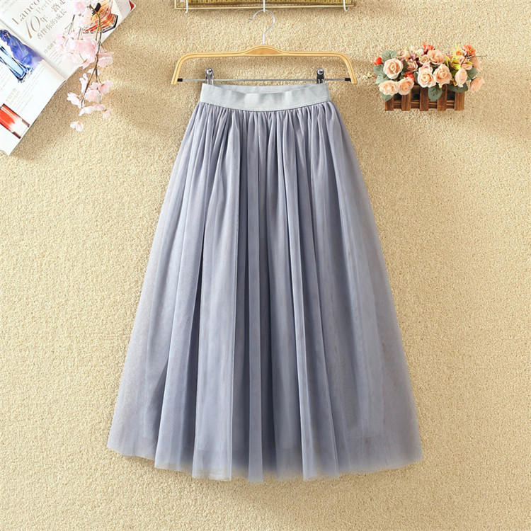 OHRYIYIE 19 Autumn Winter Vintage Skirts Womens Elastic High Waist Tulle Mesh Skirt Long Pleated Tutu Skirt Female Jupe Longue 10