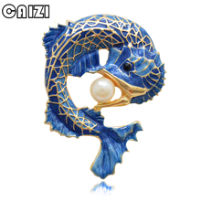 CAIZI New Blue Dragon Brooch Cute Fish Animal Brooches For Women Simulated-pearl Enamel Pin Wedding Jewelry Clothes Accessories caizi new blue dragon brooch cute fish animal brooches for women simulated pearl enamel pin wedding jewelry clothes accessories