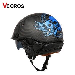 Image 4 - VCOROS Brand Retro Carbon Fiber Open Face Motorcycle Helmet Vintage Motorbike Helmet Cruise casco moto Scooter Man Helmet DOT