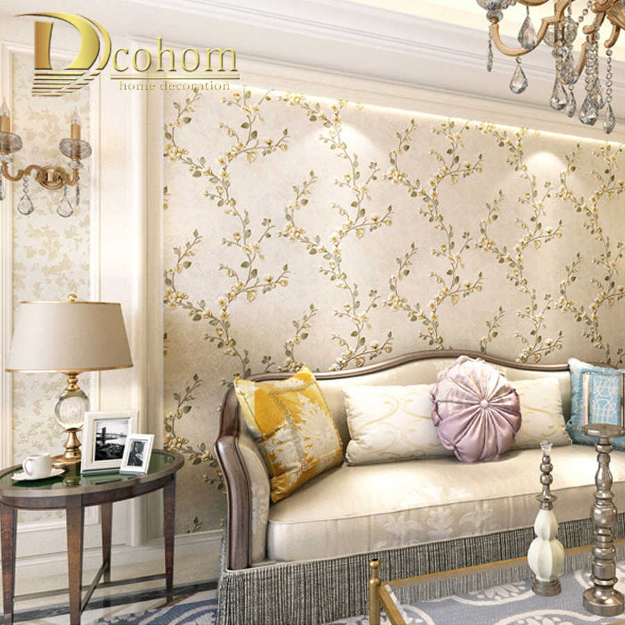 Beige Color 3d Rustic Floral Embossed Wallpaper Plain Flower Pattern Wall Coverings For Bedroom Living Room Wall Decorations