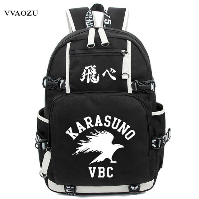 a566752a567e3 Anime Haikyuu Haikiyu Karasuno Rucksack Nylon Schüler Schultasche Unisex  Reisetaschen Mode Reise Laptop Schultern Tasche