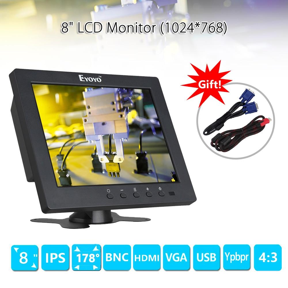 Eyoyo S801C 8 inch LCD HD Monitor Screen 1024x768 VGA BNC AV HDMI Security CCTV Monitor Ypbpr Input Display for VCD DVD PC zhixianda 17 inch hdmi hd lcd monitor hdmi bnc vga av usb input with 1024 768 pixels
