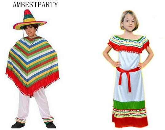01236a3d65e US $14.36 15% OFF|Hot 2017 Halloween Costume Adults Kids Mexico Cloak  Mexico Cape Straw hat Cosplay Dress performance clothes AMBESTPARTY on ...