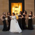 2016 New Long Bridesmaid Dresses Black! Sexy Sweetheart Sweep Train A-line Lace Organza Bridesmaid Dresses Formal Formal Dresses