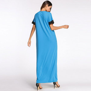 Image 3 - 2020 קיץ נשים שמלת גדול צבע בלוק קצר שרוול בתוספת גודל מוסלמי העבאיה תורכי קפטן דובאי מזדמן חלוק VKDR1162