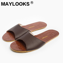 Men's Slippers Spring And Summer genuine Leather Home Indoor Slip Non-slip Slippers 2018 New Hot 8805