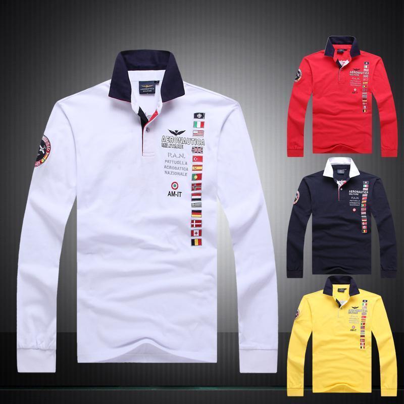 2018 mens Autumn 100%cotton AERONAUTICA MILITARE long sleeve Air force one man   polo   shirt Casual fashion Embroidery   Polo   shirt