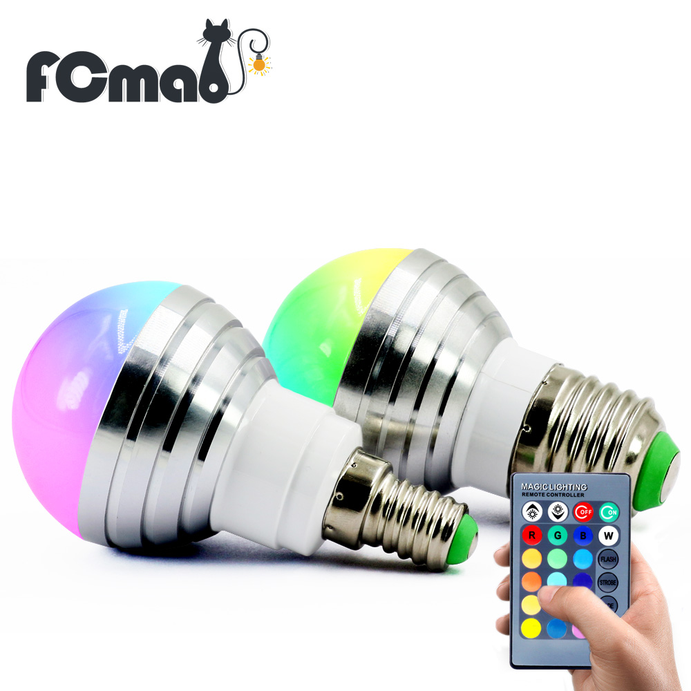 E27 E14 AC110V 220V 3W LED RGB Bulb lamp LED RGB Spot light dimmable magic Holiday RGB lighting+IR Remote Control 16 colors e27 led bulb 10w rgb led bulb lamp 12 colors remote control led light for home decoration stage lighting led lamp