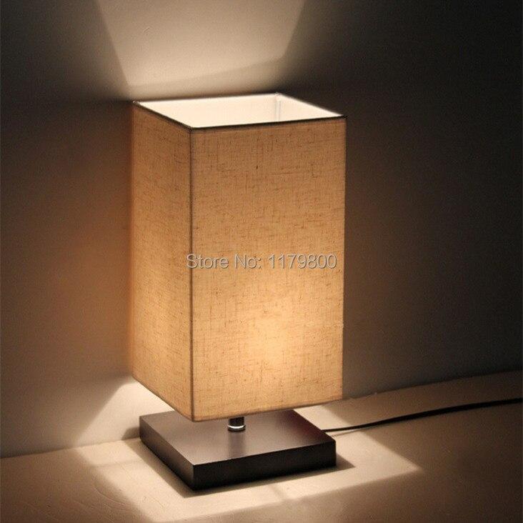 Lampe de bureau de Table moderne abat-jour en lin Base en bois chambre chevet lumière 36 cm de hauteur