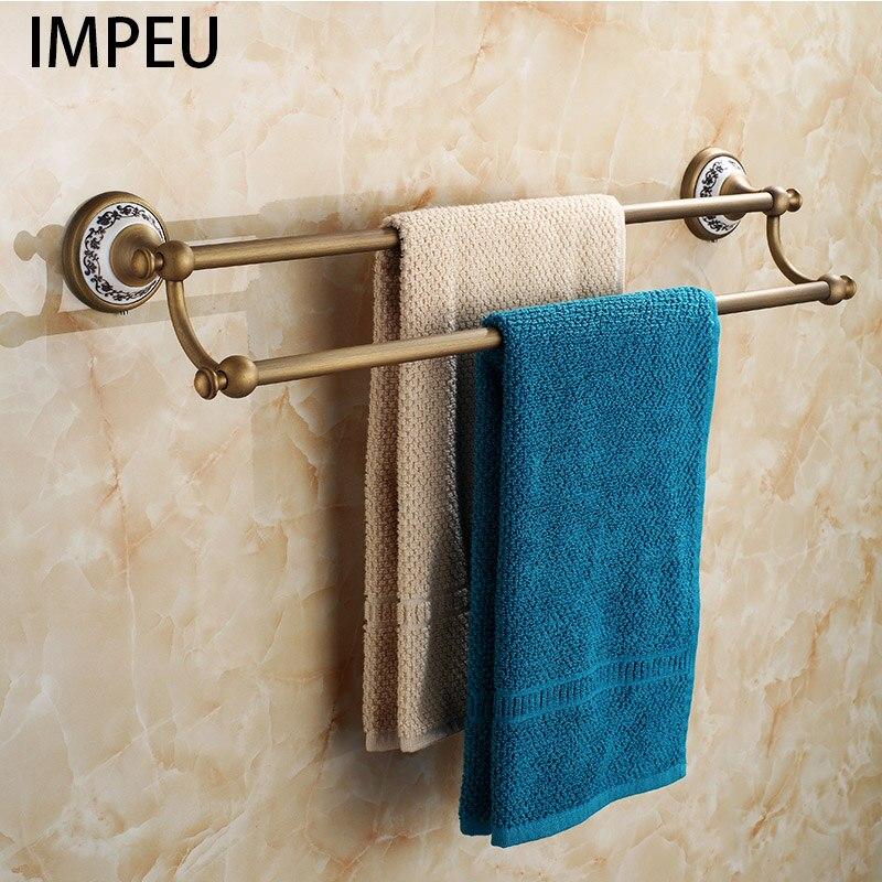Accessoires de salle de bains en Bronze Antique Double porte-serviettes en céramique décor à la maison porte-serviettes, longueur personnalisée disponible, laiton massif