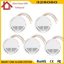5 stücke Verdrahtete kabel feuer rauchmelder alarm für verdrahtete kabel gsm pstn alarm system