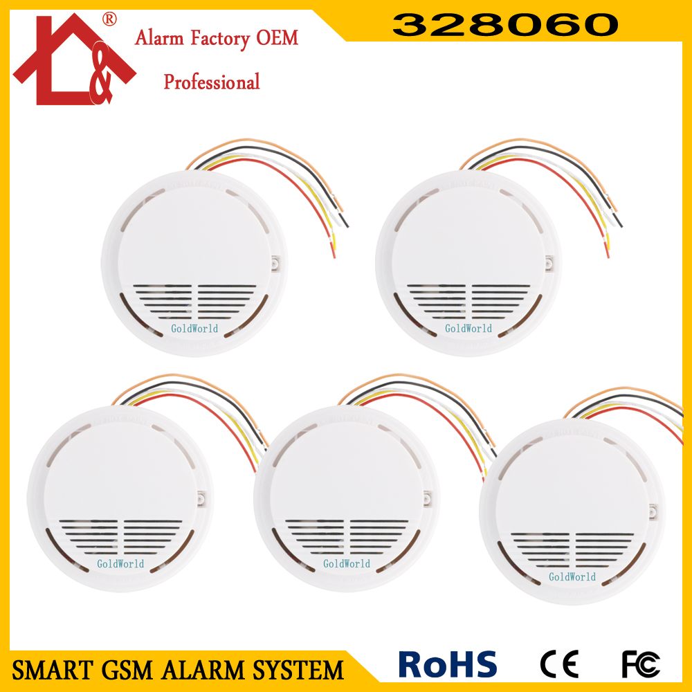 5pcs Wired cable fire smoke detector alarm for wired cable gsm pstn alarm system-in Smoke Detector from Security & Protection