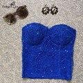 Sexy 2017 das Mulheres Frisado Brilhante Push Up Acolchoado Bralette Bustier Croset Strapless Verão Tubo Top Blusas Partido Clubwear
