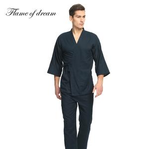 Image 2 - 100% algodão pijamas japoneses dos homens pijamas para homem hombre pijamas masculinos de algodão quimono 356
