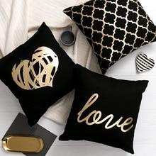 Decorative Pillows Cushion Sofa Foil Gold Black Golden-Leaves Para Almofadas Brozing