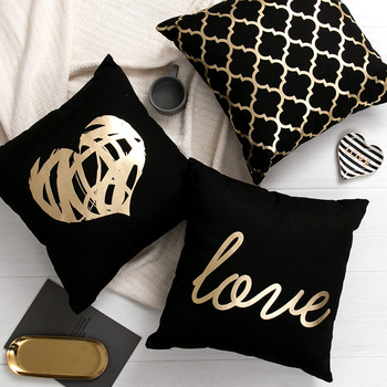 Black Golden Leaves Cushion Brozing Gold Foil Decorative Pillows Home Decor Throw Pillow Almofadas Decorativas Para Sofa - discount item  37% OFF Home Textile