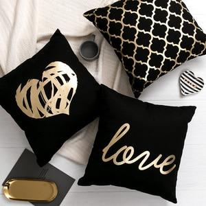 Black Golden Leaves Cushion Br